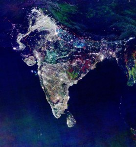 India during Diwali, satellite image