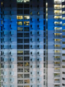time revealed by the passage of light across a Singapore high rise