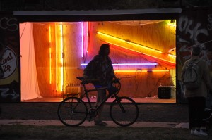 Melbourne - view of neon with bike - small